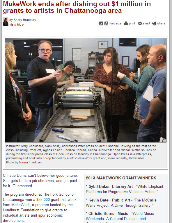 MakeWork ends after dishing out $1 million in grants to artists in Chattanooga area - TFP, 12/5/2013