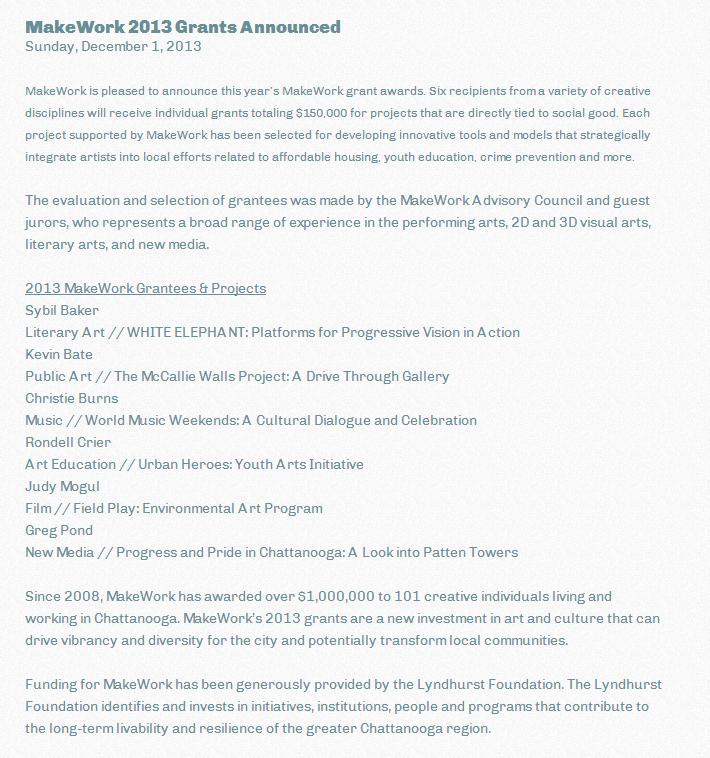 MakeWork 2013 Grants Announced