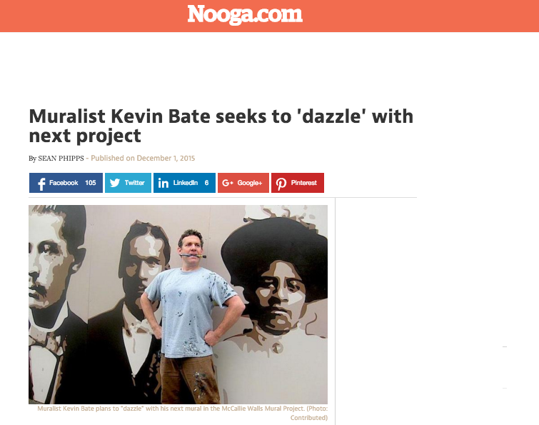 Muralist Kevin Bate seeks to 'dazzle' with next project - Nooga.com, December 2015